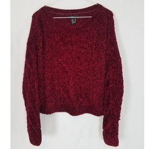 Red wine woven crop sweater